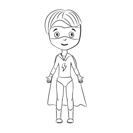 Coloring book: Cartoon superhero Illustration