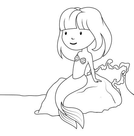 Coloring book: Little mermaid sitting on the rock Vector