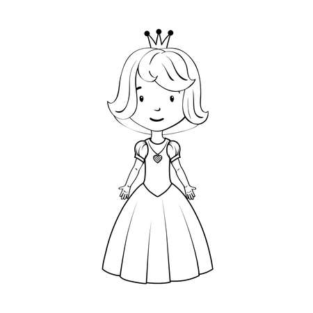 Coloring book: Little girl wearing princess costume Vector