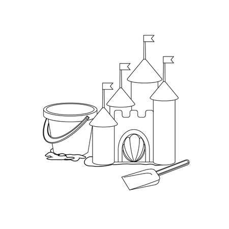 seau d eau: livre � colorier: ch�teau de sable de Cartoon Illustration