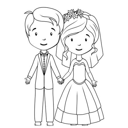 coloring book page: Coloring book: Cartoon groom and bride