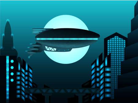 science fiction: Sciencefiction illustratie. Zeppelin in de voorkant van het stedelijk landschap Stock Illustratie