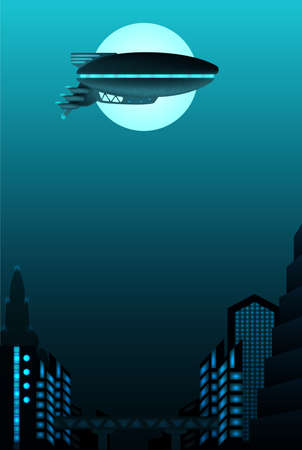 science fiction: Science fiction poster design with space for text. Zeppelin in front of urban landscape. Illustration
