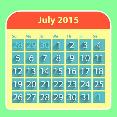 Flat style july 2015 calendar design template