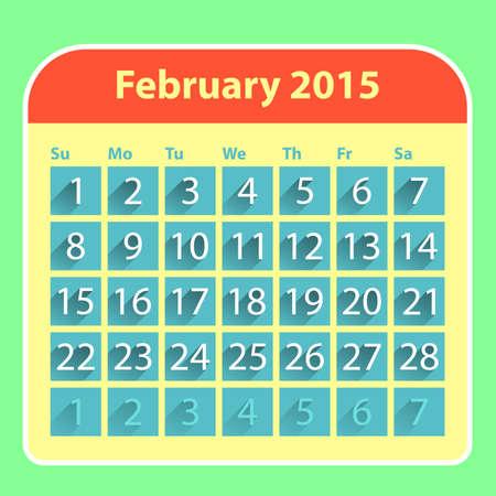 Flat style february 2015 calendar design template