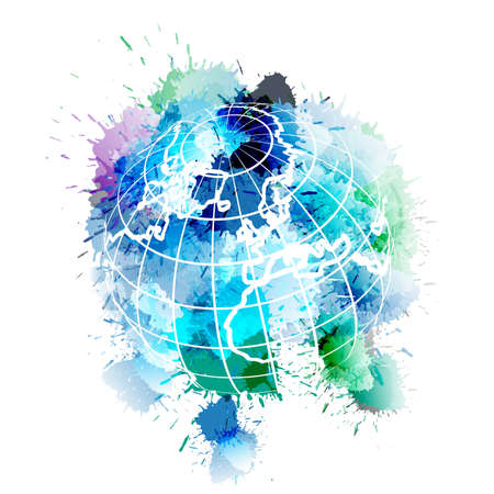 Globe covered with colorful grunge splashes Vector