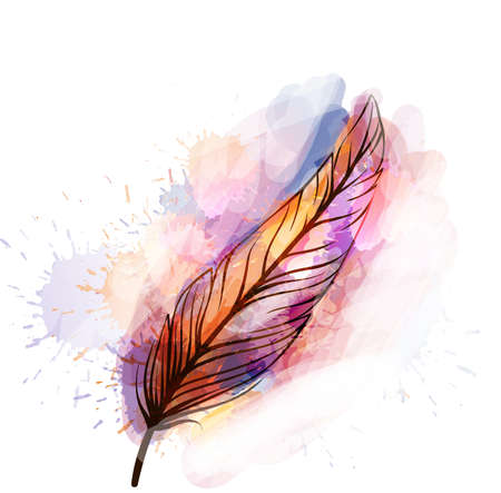 Watercolor grunge feather