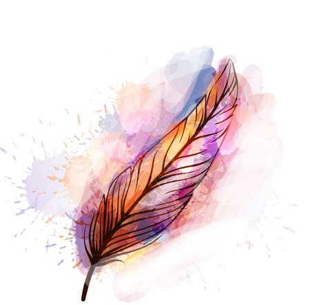 Aquarelle grunge plume