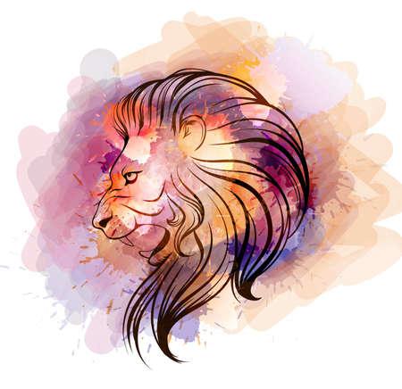 Watercolor lion head Çizim