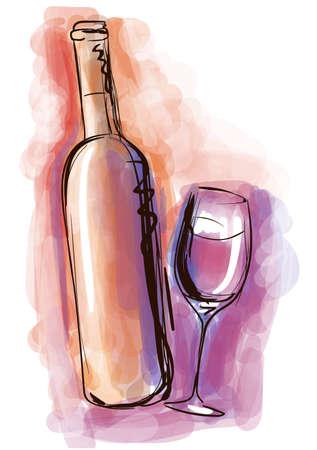 tomando vino: Botella de vino de la acuarela y el vidrio