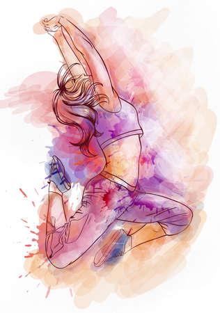 Aquarelle lumineuse danseuse Banque d'images - 32762137