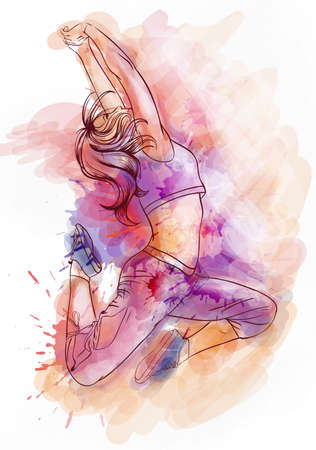 Bright watercolor dancer