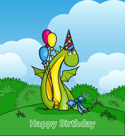 Happy birthday. Cute cartoon dragon wearing party hat and holding balloons