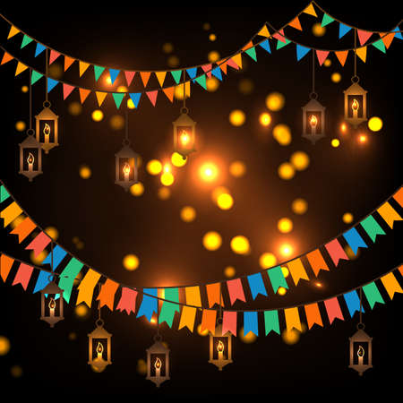 Street decoration. Flags and lanterns Vector