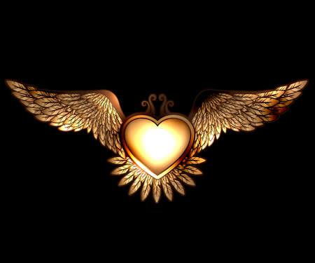 翼を持つ蒸気しゃれスタイル ハート