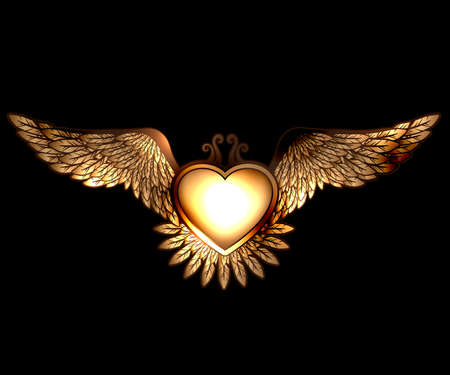 Steam pun style heart with wings