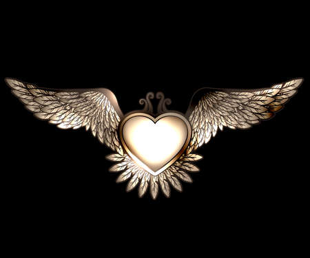 Steam pun style heart with wings Vector