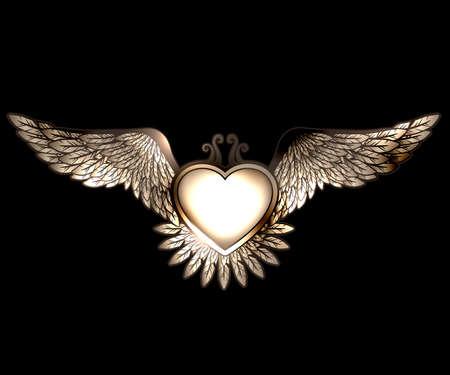Vapor juego de palabras del corazón del estilo con alas Foto de archivo - 32992034