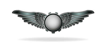 Steampunk style abstract emblem with gear and wings Vector