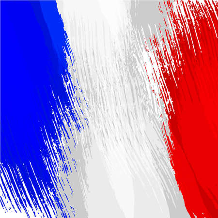 streaked: Grunge background in colors of french flag