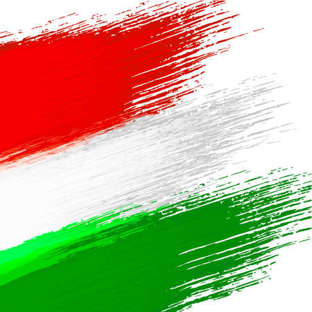 Grunge background in colors of hungarian flag Vectores