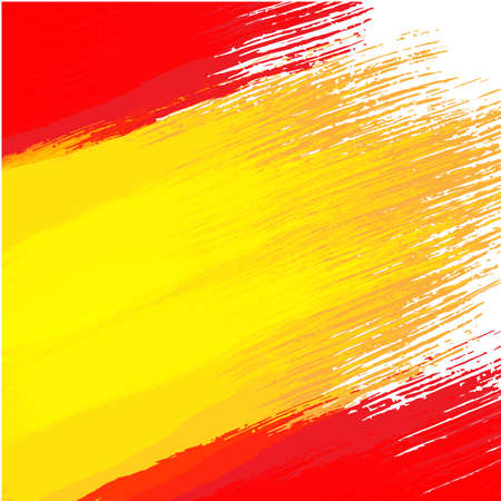 Grunge background in colors of spanish flag Çizim