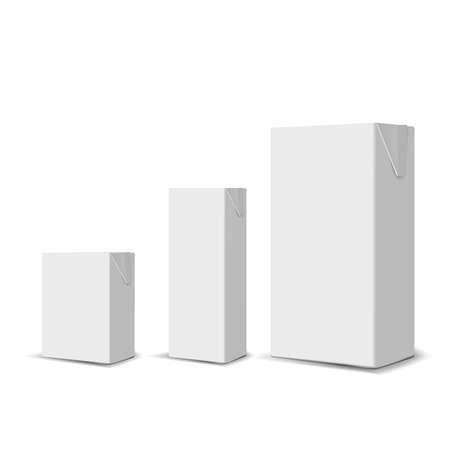 envase de leche: Conjunto de 3 leche o cajas de cartón del jugo en blanco para la marca