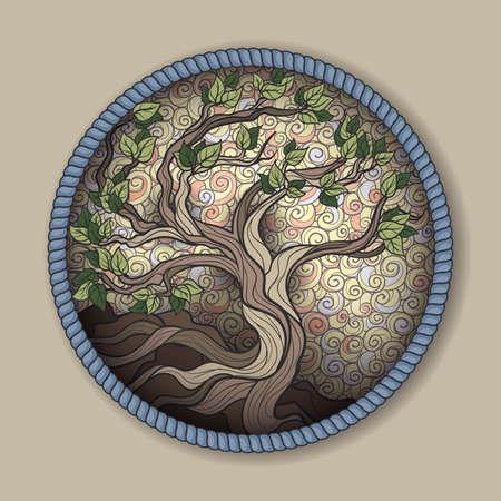 라운드 프레임의 분재 나무 일러스트