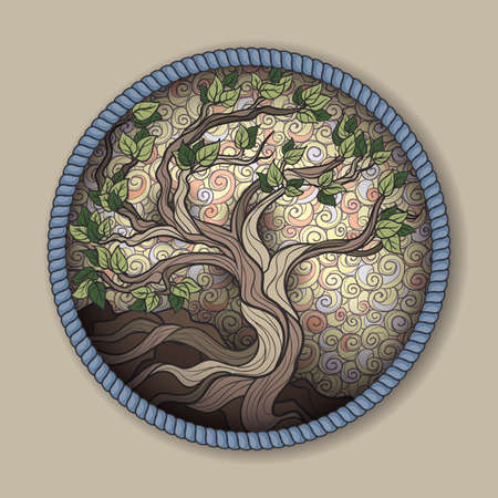 Bonsai tree in round frame Illustration