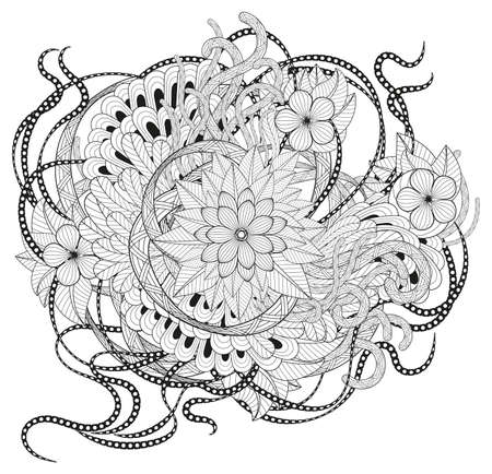 african fabric: Zen tangle floral pattern