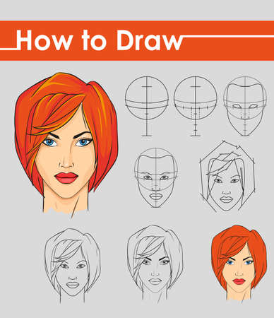 guidelines: Draw tutorial. Step by step. Female face.