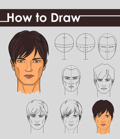 how to: Draw tutorial. Step by step. Male face.