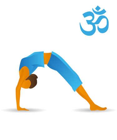 Upward bow or wheel yoga pose 일러스트