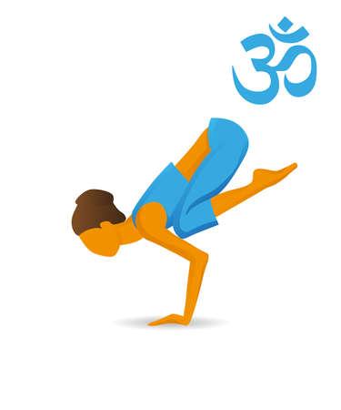 Bakasana or Crane yoga pose 일러스트