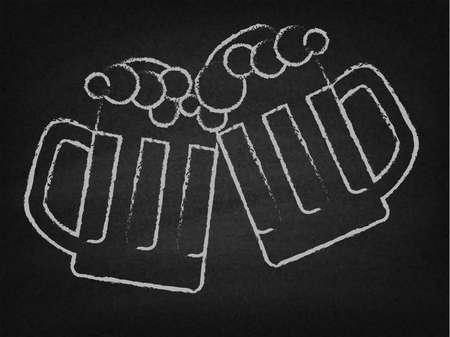 black beer: Two beer mugs on a chalkboard Illustration