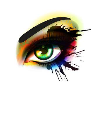ojos hermosos: Grunge colorido maquillaje moda ojo y el concepto de belleza