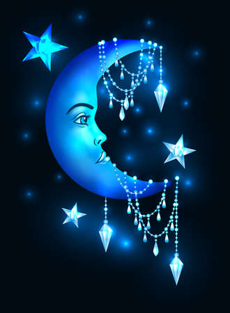 Halfmoon with human face and stars Illustration