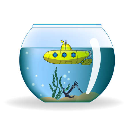 cartoon submarine: Cartoon submarine in round aquarium Illustration