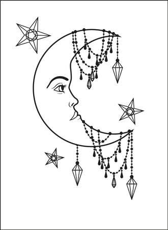 old moon: Halfmoon with human face and stars Illustration