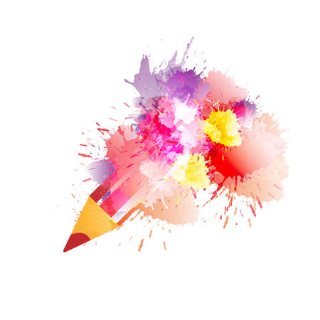 creativity: Pencil with colorful splashes. Creativity concept