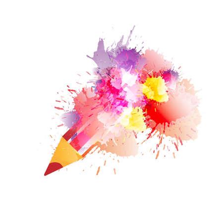 Lápiz con salpicaduras de colores. Concepto de la creatividad