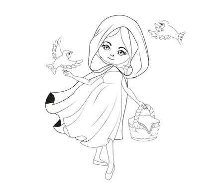 cartoon little red riding hood: Coloring book: Red Riding hood Illustration