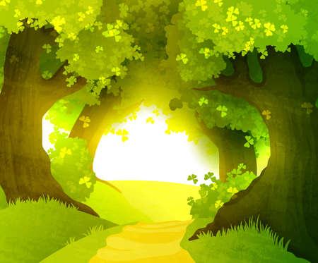 숲에서 마법의 일몰 일러스트