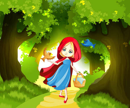 Red Riding Hood on the forest path Stock Illustratie