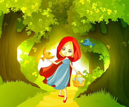 cartoon little red riding hood: Red Riding Hood on the forest path Illustration
