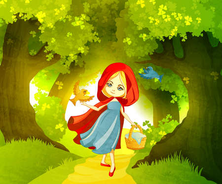 Red Riding Hood on the forest path Çizim