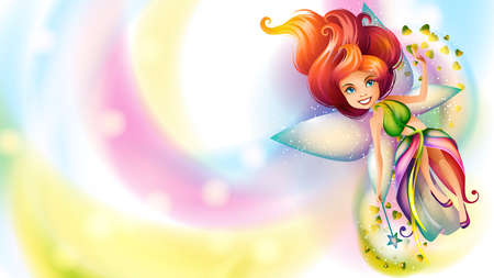 Cute colorful fairy character on a bright background Çizim
