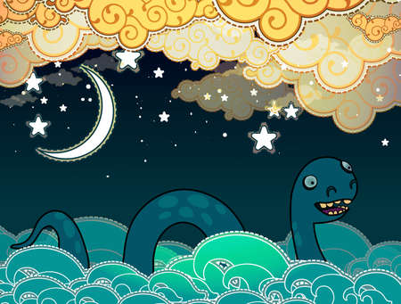 loch ness: Cartoon style Loch Ness monster