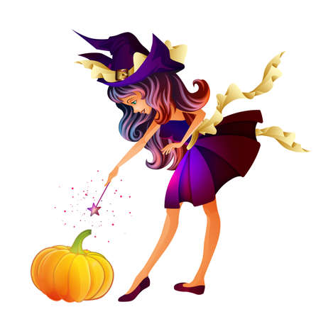 fantasy girl: Cute little witch isolated Illustration