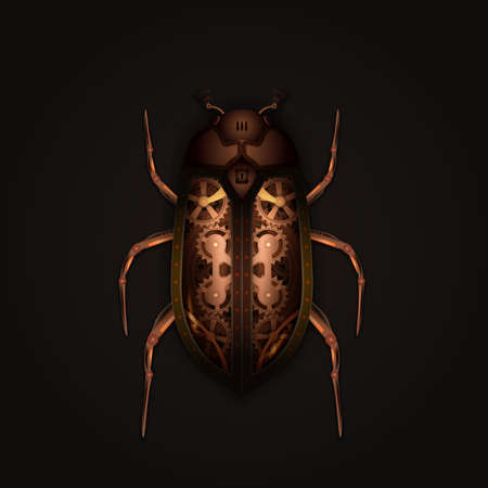 Steampunk style mechanical beetle